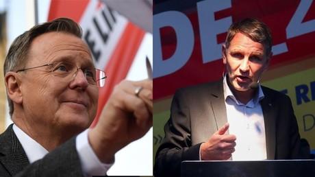 Bodo Ramelow, chef du gouvernement régional (Die Linke) de Thuringe (g.) et Björn Höcke, chef de file de l'AfD dans la région.