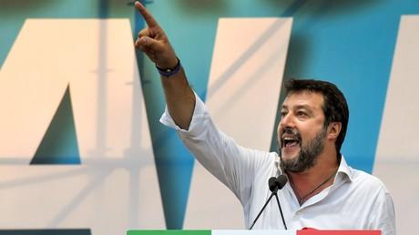 Le leader de la Lega Matteo Salvini, le 19 octobre 2019, lors d'un meeting commun avec Fratelli d'Italia et Forza Italia à Rome.