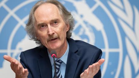 L'envoyé spécial de l'ONU en Syrie, Geir Pedersen, tient conférence de presse le 28 octobre 2019 à Genève (image d'illustration).