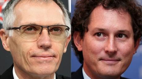 Montage présentant à gauche Carlos Tavares actuel président du groupe PSA et à droite John Elkann président du groupe FCA. Dans le projet de fusion, le 1er serait directeur général, le second président.