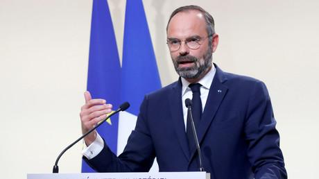Le Premier ministre Edouard Philippe présente le nouveau projet de politique migratoire au cours de la conférence de presse sur l'immigration, à Matignon, le 6 novembre 2019.