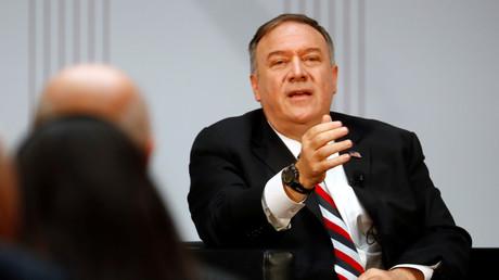 Le secrétaire d'Etat américain, Mike Pompeo, lors de sa visite officielle en Allemagne.