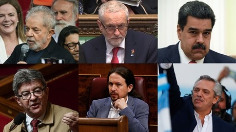 Lula da Silva, Jeremy Corbyn, Nicolas Maduro, Jean-Luc Mélenchon, Pablo Iglesias et Alberto Fernandez