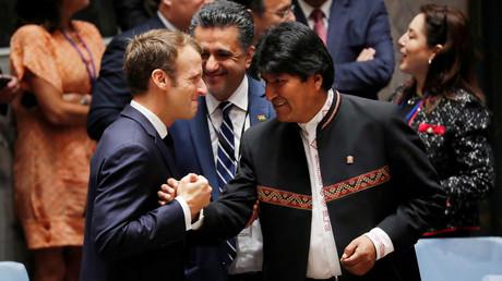Emmanuel Macron et Evo Morales à l'ONU, le 26 septembre 2018 (image d'illustration).