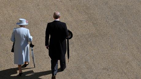 La reine d'Angleterre Elizabeth II et le prince Andrew, duc d'York, arrivent pour la Royal Garden Party au Buckingham Palace à Londres, le 21 mai 2019. (image d'illustration)