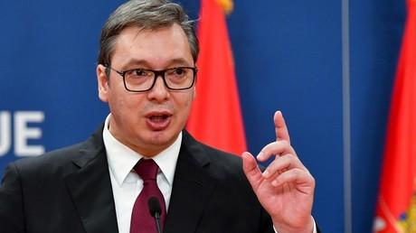 Le président serbe, Alexandar Vucic, lors d'une conférence de presse, le 19 octobre 2019, à Belgrade, en Serbie (image d'illustration).