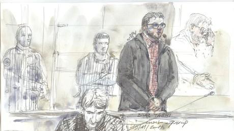 Cette esquisse réalisée le 19 novembre 2019 montre Bilal Taghi, un djihadiste, jugé par le tribunal pénal de Paris après avoir attaqué deux gardiens de la prison d'Osny en 2016.