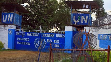 Entrée du camp de la Mission de l'Organisation des Nations unies pour la stabilisation en République démocratique du Congo (MONUSCO) située dans la ville de Beni, à l'est de la République du Congo.