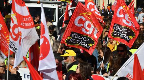 Manifestation pour la défense su service public, le 19 novembre 2019, à Montpellier (Hérault).