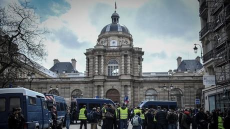 Des Gilets jaunes manifestent devant le Sénat, le 9 avril 2019 à Paris (illustration).
