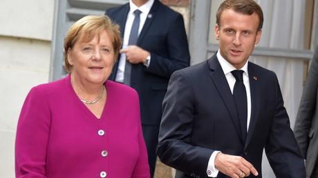 Angela Merkel et Emmanuel Macron, le 16 octobre 2019, à Toulouse (image d'illustration).