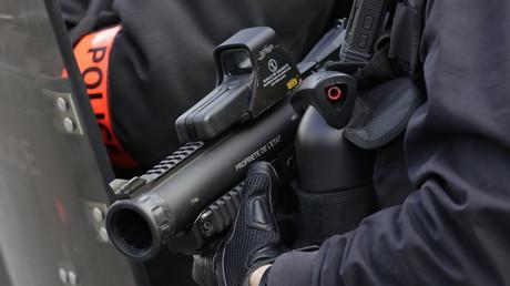 Un policier tient un LBD40 dans ses mains, le 13 avril 2019 à Paris (image d'illustration).