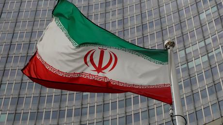 Le drapeau iranien devant le siège de l'AIEA, le 9 septembre 2019, à Vienne, en Autriche (image d'illustration).