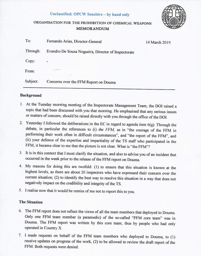 «Attaque chimique» à Douma : fuite d'une version préliminaire jamais publiée du rapport de l'OIAC