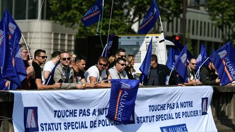 Manifestation de policiers à Paris, le 22 mai 2018.