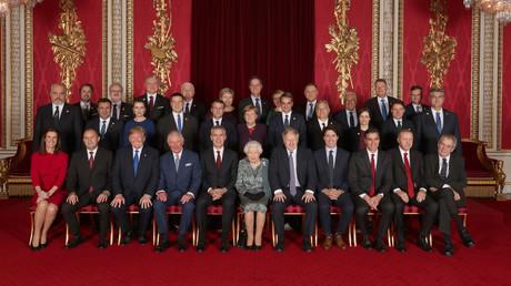 Les dirigeants de l'OTAN en compagnie de la reine Elizabeth II à Londres, le 4 décembre 2019.