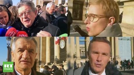 Jean-Luc Mélenchon, Clémentine Autain, Jean Lassalle et Nicolas Dupont-Aignan manifestent devant l'Assemblée nationale, le 4 décembre.