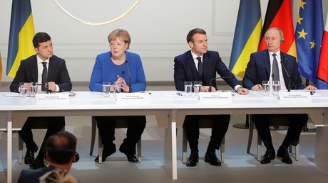 Les quatre dirigeants du sommet au format Normandie, le soir du 9 décembre à Paris.