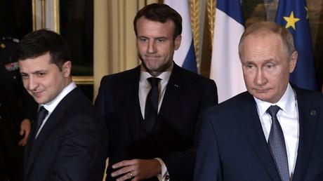 9 décembre 2019. Le président russe Vladimir Poutine, le président français Emmanuel Macron et le président ukrainien Volodymyr Zelensky lors d'une réunion au