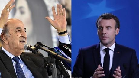 Le président élu algérien Abdelmadjid Tebboune et le président français Emmanuel Macron.
