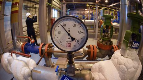 Le 21 mai 2019, vue depuis la station de surpression du gisement de gaz de Bovanenkovo, (presqu'île de Yamal au nord de la Sibérie occidentale), qui doit alimenter le gazoduc Nord Stream 2 (illustration).