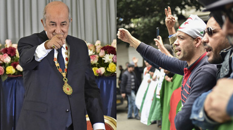 Photomontage : le président algérien Abdelmadjid Tebounne lors de son investiture, le 19 décembre / Des manifestants contestent le 20 décembre la légitimité de l'élection présidentielle (image d'illustration).