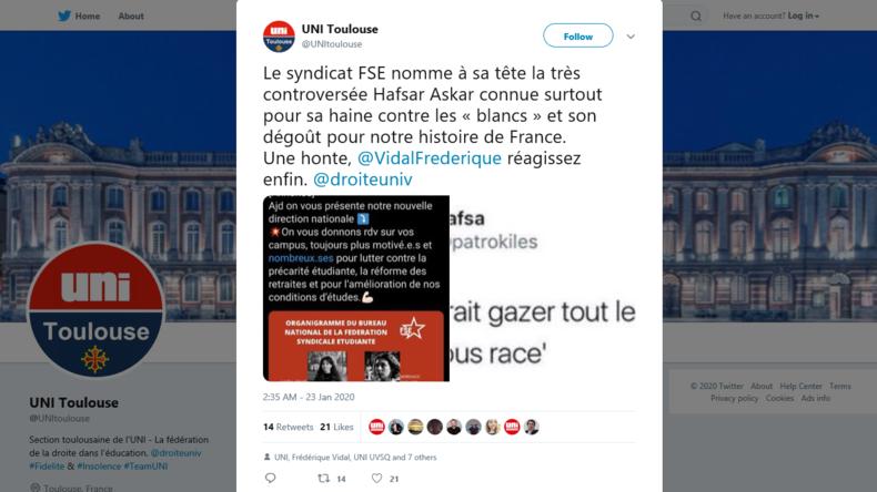 «Je déteste les blancs» : les tweets de la secrétaire générale du syndicat FSE refont surface