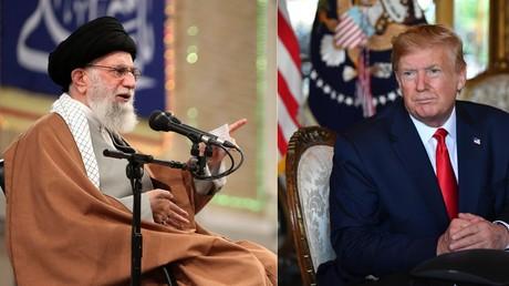 Collage photos : Ali Khamenei, le 1er janvier 2020 à Téhéran (gauche) et Donald Trump, le 24 décembre 2019 à Palm Beach, Etats-Unis (droite).