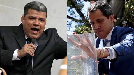 A gauche : Luis Parra du parti Première justice ; à droite : Juan Guaido, du parti Volonté populaire.