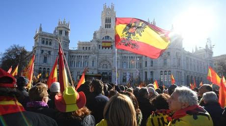 Manifestation à l'appel de Vox contre l'accord passé entre Pedro Sanchez et des indépendantistes catalans, le 12 janvier à Madrid.