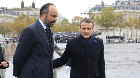 Edouard Philippe et Emmanuel Macron le 11 novembre 2019 à l'Arc de triomphe, Paris (image d'illustration).