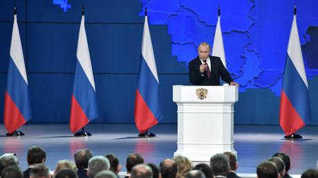 Vladimir Poutine lors de son discours annuel devant l'Assemblée fédérale russe, le 20 février 2019 (image d'illustration).
