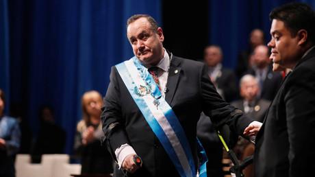 Alejandro Giammattei lors de sa prestation de serment comme président à Guatemala City, Guatemala le 14 janvier 2020.