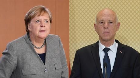 La chancelière allemande Angela Merkel et le président tunisien Kaïs Saïed (image d'illustration).