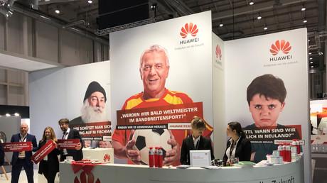 Le stand Huawei dans la zone des sponsors, lors du congrès du parti de l'Union chrétienne-démocrate (CDU) à Hambourg, en Allemagne, le 7 décembre 2018 (illustration).