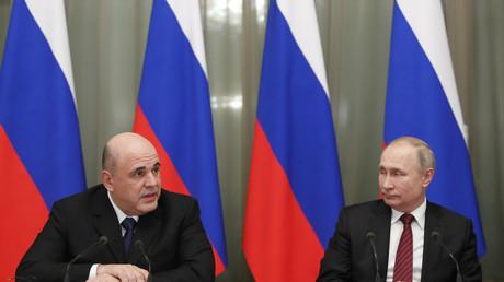 Le Premier ministre russe Mikhaïl Michoustine et le président russe Vladimir Poutine lors de la première réunion du nouveau gouvernement russe, le 21 janvier 2020 (image d'illustration).