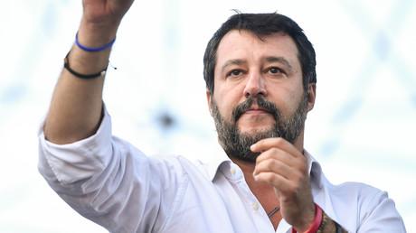 Matteo Salvini lors d'un rassemblement politique contre l'actuel gouvernement italien, à Rome, le 19 octobre 2019 (image d'illustration).