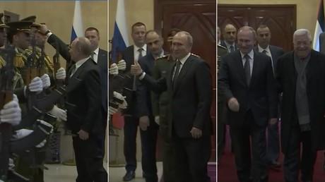A Bethléem, Vladimir Poutine remet la casquette sur la tête d'un garde palestinien