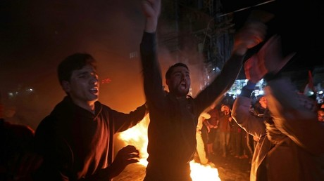Des manifestants palestiniens réagissent au plan de paix de Donald Trump, le 28 janvier 2020 dans la bande de Gaza.