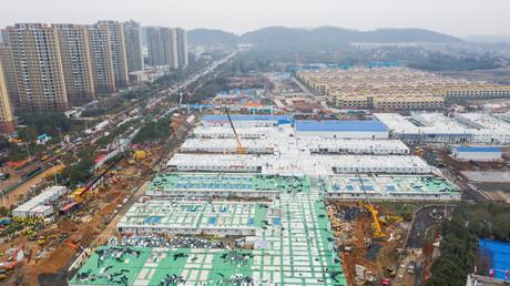 Vue aérienne de l'hôpital Huoshenshan, à Wuhan (Chine), le 2 février 2020.