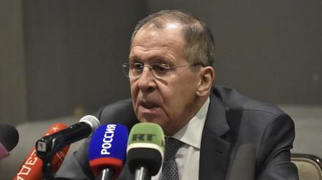 Le ministre russe des Affaires étrangères, Sergueï Lavrov, s'exprime lors d'une conférence de presse après une réunion avec son homologue mexicain Marcelo Ebrard à Mexico, le 6 février 2020 (image d'illustration).