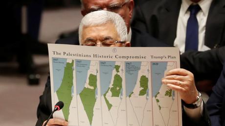Le président de l'Autorité palestinienne Mahmoud Abbas devant le Conseil de sécurité de l'ONU à New York le 11 février 2020.