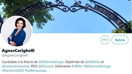 Capture d'écran du compte Twitter d'Agnès Cerighelli