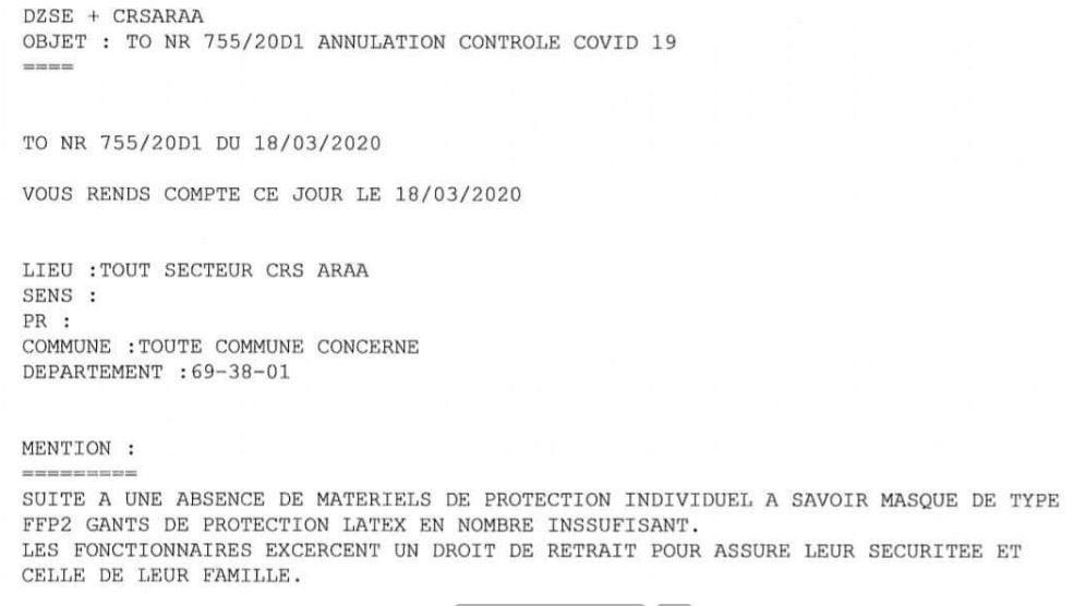 Contrôles de confinement : sans protection, une compagnie de CRS invoque le droit de retrait