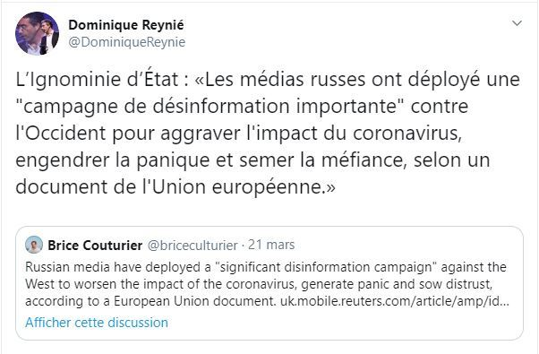 Coronavirus ? «C'est les Russes» ! Quand l'UE accuse (encore) les médias «pro-Kremlin»
