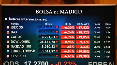 La bourse de Madrid, le 9 mars 2020.
