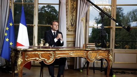 Emmanuel Macron s'exprimant à la télévision depuis l'Elysée, en avril 2019 (image d'illustration).