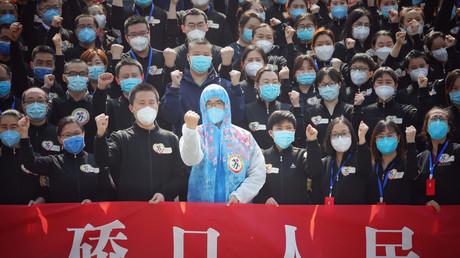 La Chine a annoncé zéro nouvelle contamination d'origine locale par le coronavirus. Wuhan, le 19 mars 2020.