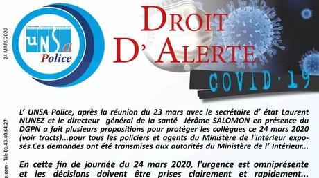 Tract d'Unsa-Police le 24 mars, après une réunion en visioconférence infructueuse la veille.