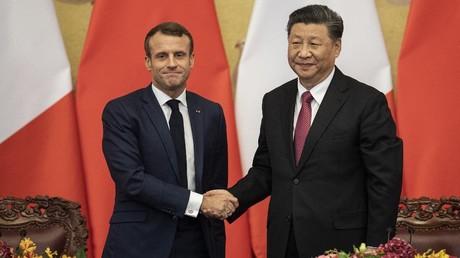 Emmanuel Macron et Xi Jinping, le 6 novembre 2019, à Pékin, en Chine (image d'illustration).